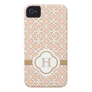 Monogrammed Blush Pink Gold Moroccan iPhone 4 Case-Mate Case