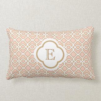 Monogrammed Blush Pink Gold Moroccan Lumbar Pillow