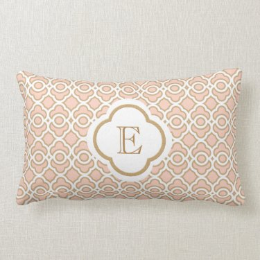 Monogrammed Blush Pink Gold Moroccan Throw Pillows