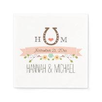 Monogrammed Blush Pink Horseshoe Heart Wedding Napkin