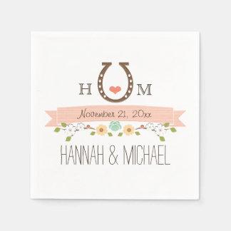 Monogrammed Blush Pink Horseshoe Heart Wedding Standard Cocktail Napkin
