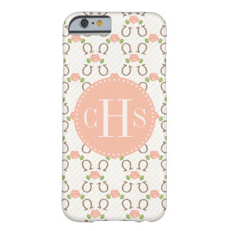 Monogrammed Blush Rose and Horseshoe Barely There iPhone 6 Case
