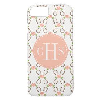 Monogrammed Blush Rose and Horseshoe iPhone 8/7 Case