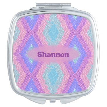 Aztec Themed Monogrammed bohemian hippie chic diamond pattern compact mirror