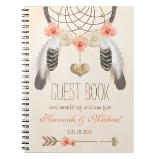 Monogrammed Boho Dreamcatcher Wedding Guest Book