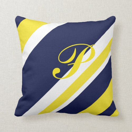 Monogrammed Border Hugging Blue and Gold Throw Pillow