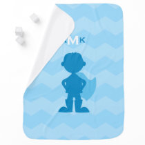 Monogrammed Boy Superhero Blue Silhouette Chevron Swaddle Blanket