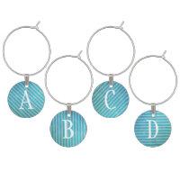 Monogrammed Bright Aqua Blue Stripes Wine Glass Charm