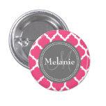Monogrammed Bright Pink & Grey Quatrefoil Button