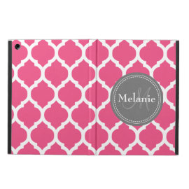 Monogrammed Bright Pink & Grey Quatrefoil Case For iPad Air