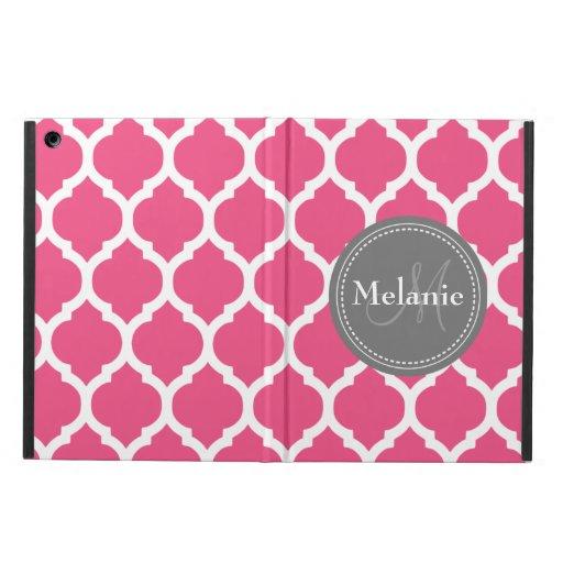 Monogrammed Bright Pink & Grey Quatrefoil Case For iPad Air
