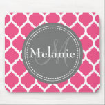 """Monogrammed Bright Pink &amp; Grey Quatrefoil Mouse Pad<br><div class=""""desc"""">Cool cute chic trendy bright pink,  grey and white Moroccan lattice quatrefoil pattern with gray nameplate for your custom monogram initial letter and name. Great gift for girly girls that love geometric patterns and monogrammed gifts.</div>"""