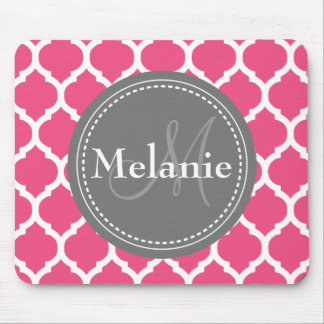 Monogrammed Bright Pink & Grey Quatrefoil Mouse Pad
