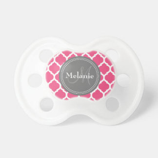 Monogrammed Bright Pink & Grey Quatrefoil Pacifier