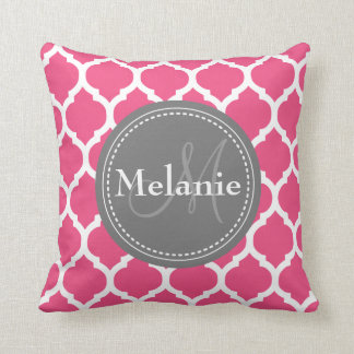 Monogrammed Bright Pink & Grey Quatrefoil Throw Pillow