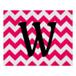 Monogrammed Bright Pink Zigzag Poster