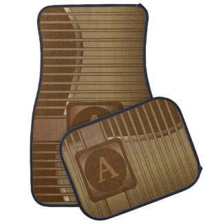 Monogrammed Bronze and Brown Striped Car Mat