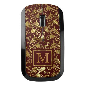 Monogrammed Brown And Gold Damask Pattern