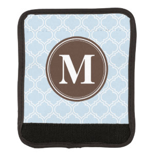 Monogrammed Brown Baby Blue Trellis Pattern Luggage Handle Wrap