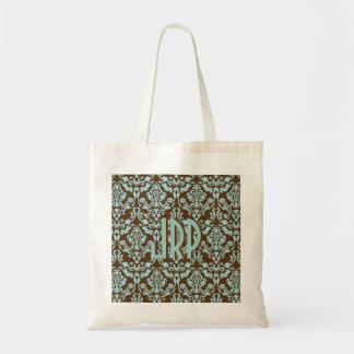 Monogrammed Brown & Blue Damask Budget Tote Bag