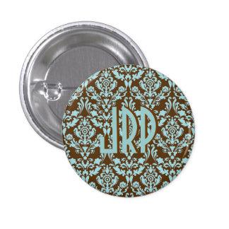 Monogrammed Brown & Blue Damask 1 Inch Round Button