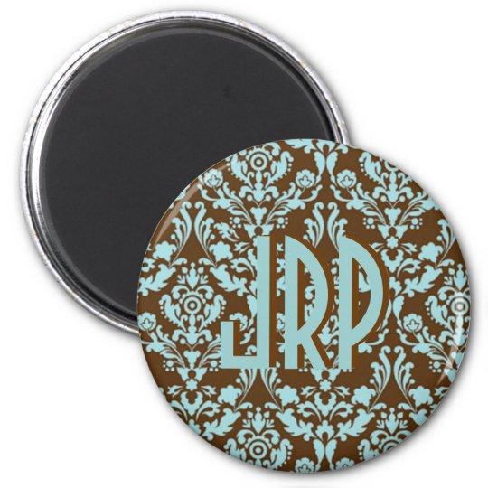 Monogrammed Brown & Blue Damask Magnet