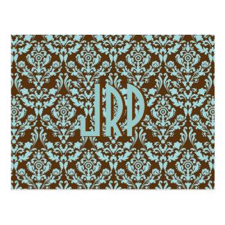Monogrammed Brown & Blue Damask Post Cards