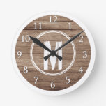 Monogrammed Brown White Distressed Wood Round Clock