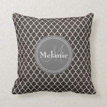 Monogrammed Brown White Moroccan Lattice Pattern Throw Pillow
