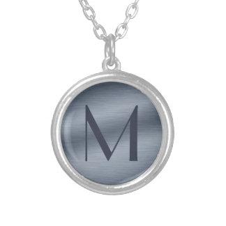 Monogrammed Brushed Steel Necklace
