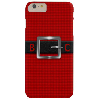 Monogrammed Buckled Black Belt on Red Plaid Barely There iPhone 6 Plus Case