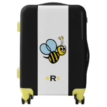 Monogrammed Bumblebee Kids Yellow and Black Luggage