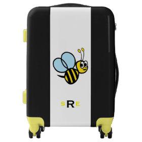 Monogrammed Bumblebee Kids Yellow and Black Luggage
