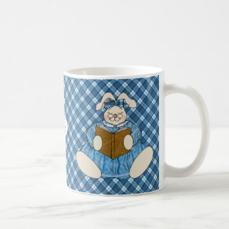 Monogrammed Bunny Reading in Country Style Coffee Mug