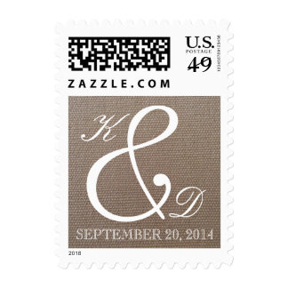 Monogrammed burlap country chic wedding stamps