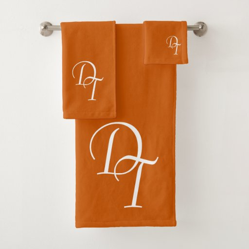 Monogrammed - burnt orange bath towel set