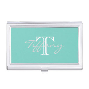Feminine business card holders cases zazzle monogrammed business card holder colourmoves Image collections