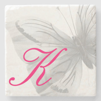Monogrammed BUTTERFLY Stone Coaster