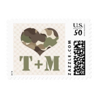 Monogrammed Camo Camouflage Love Stamps