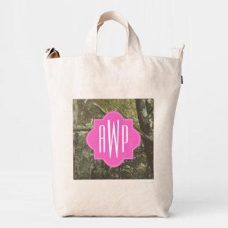 Monogrammed Camouflage + Pink Duck Bag