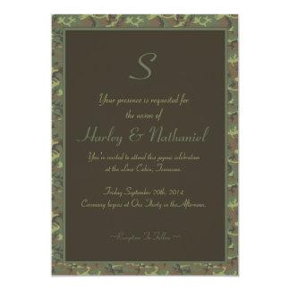 Monogrammed Camouflage Wedding 5x7 Paper Invitation Card