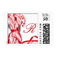 Monogrammed Candy Cane Postage