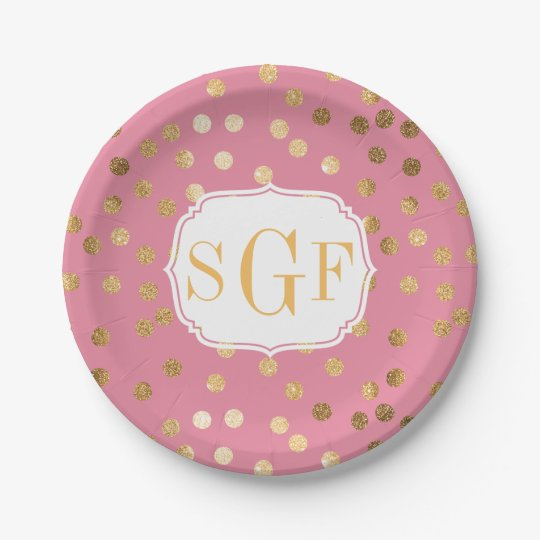 monogrammed candy pink and gold glitter city dots paper plate. Black Bedroom Furniture Sets. Home Design Ideas