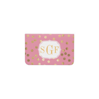 Monogrammed Candy Pink Gold Glitter City Dots Business Card Holder