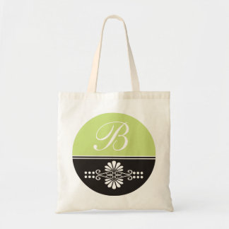 Monogrammed Canvas Tote Bags:Lime Green & Black