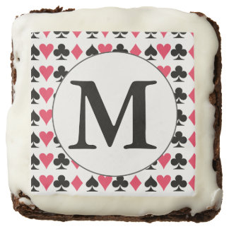 Monogrammed Card Players Brownies