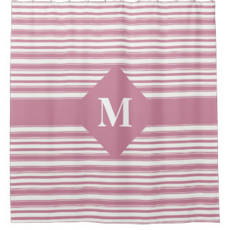 Monogrammed Cashmere Rose Pink Stripes Shower Curtain