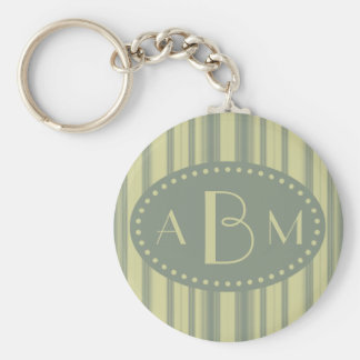 Monogrammed Celery and Sage Green Stripe Keychain