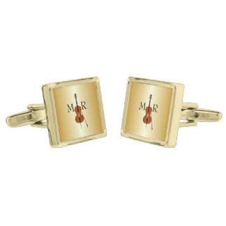 Monogrammed Cello Gold Finish Cufflinks