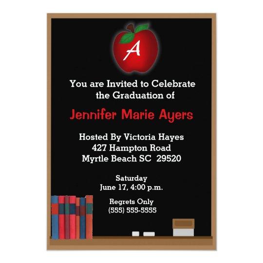 Monogrammed Chalkboard Teacher Graduation Invite